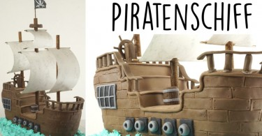 Backen ein Piratenschiff Fondanttorte