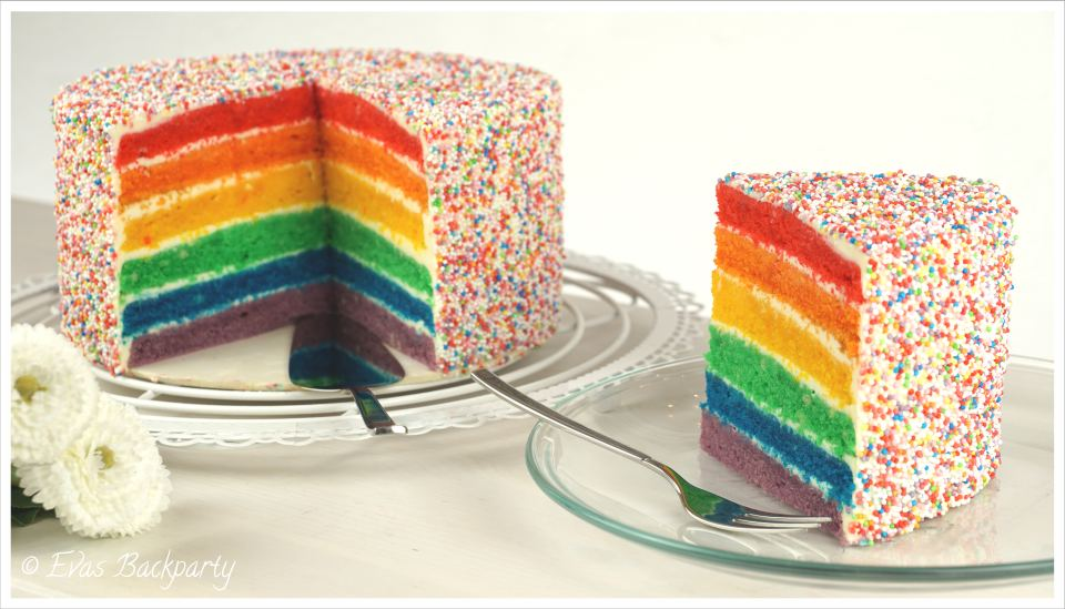 regenbogentorte rainbow cake evasbackparty. Black Bedroom Furniture Sets. Home Design Ideas