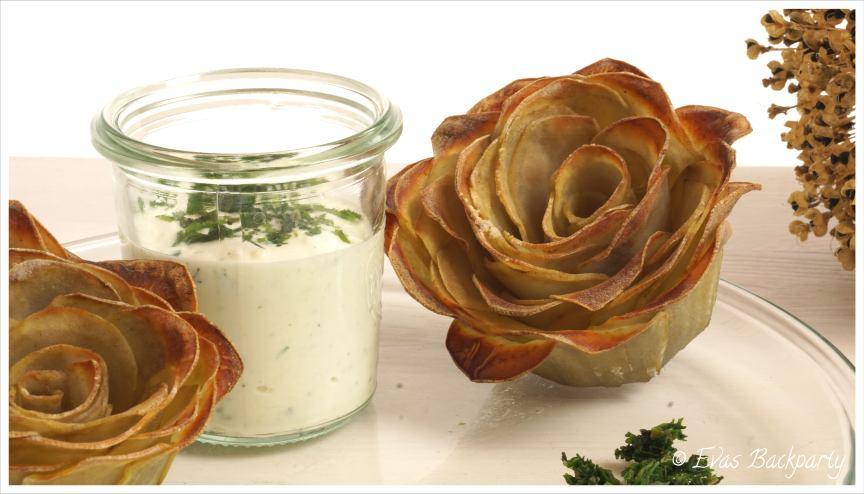 Kartoffelrosen mit Sour Cream Dip