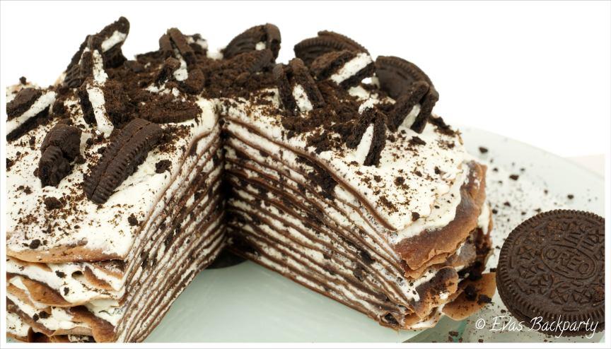 Oreo-Crepe-Torte mit Vanillecreme