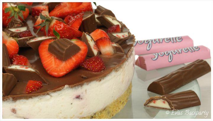 Yogurette-Erdbeer-Torte, Yogurettentorte mit Erdbeer