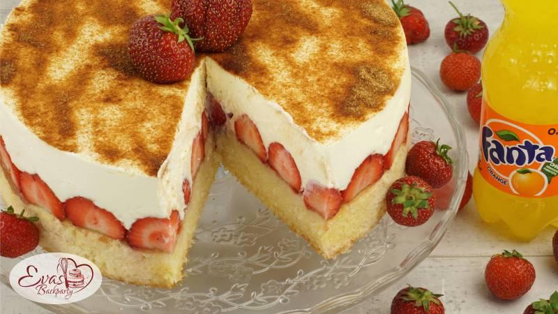 Fanta Kuchen Mit Erdbeeren Evasbackparty
