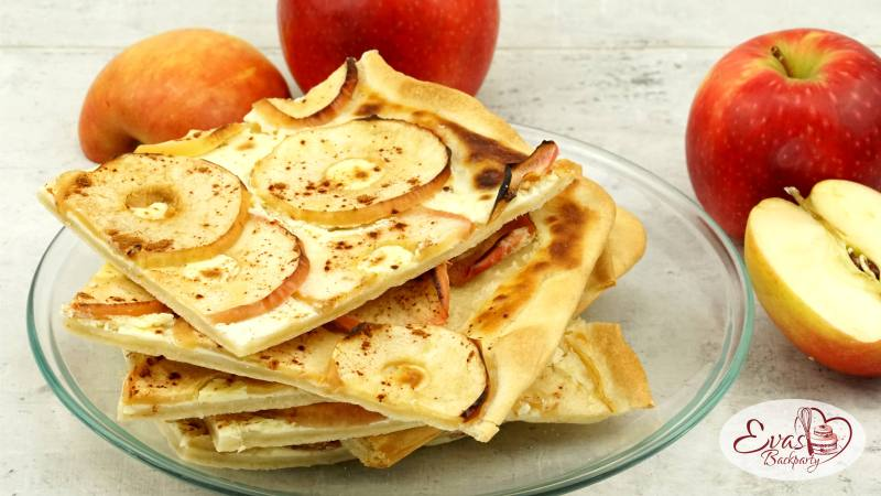 Apfel-Flamm-Kuchen, herzhaft süsslich